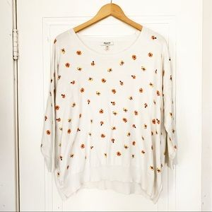 Madewell Light Cream Floral Sweater